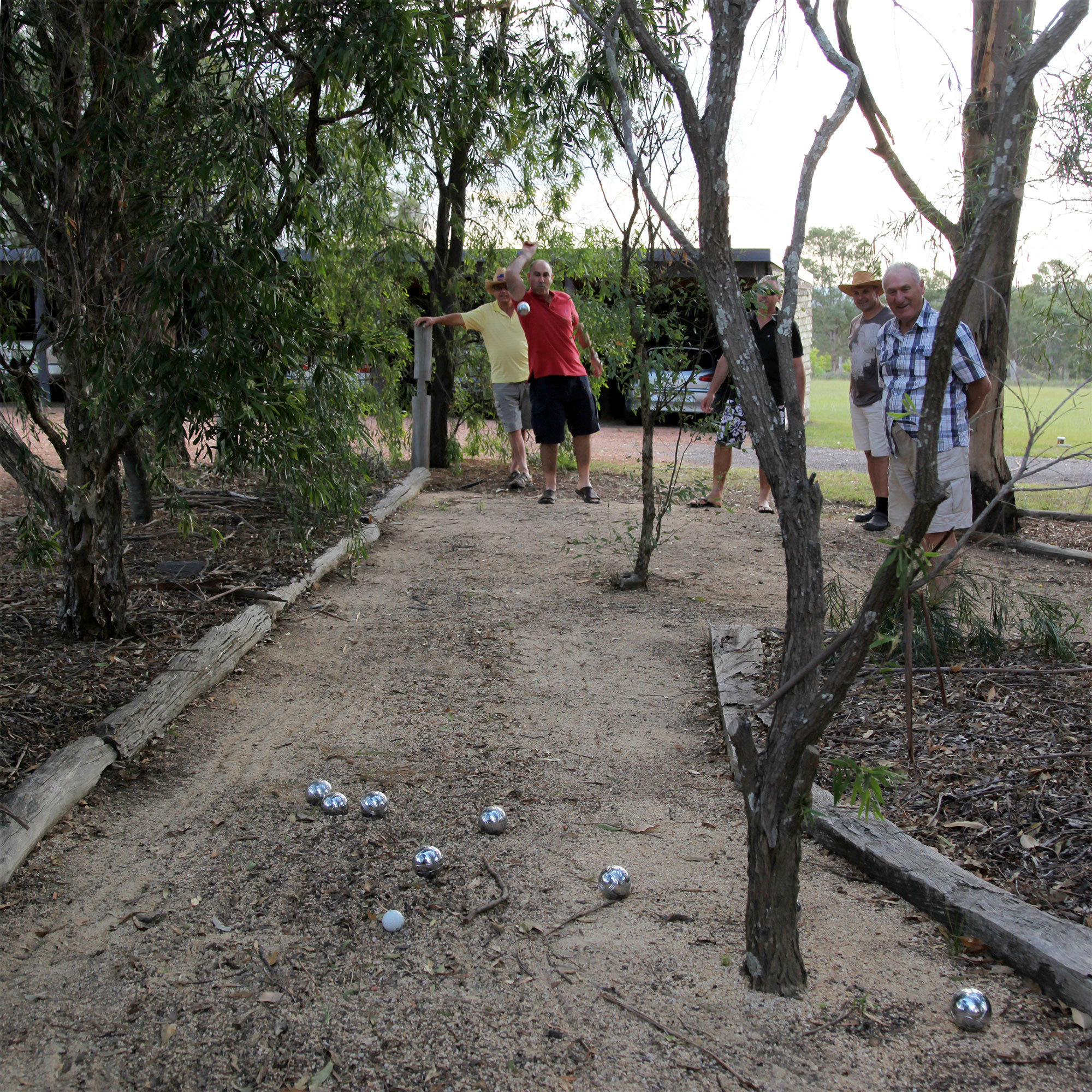 Boules in the native garden