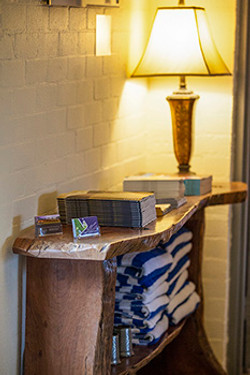Side table with pool towels