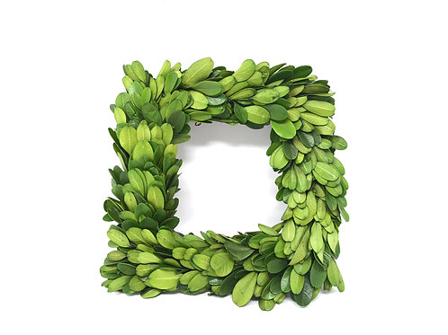 Preserved Boxwood Square Wreath 6.5 in