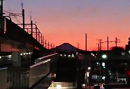 守谷駅から眺める富士山