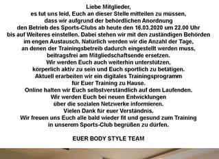 Bodystyle Sports Club Info zum CORONA-VIRUS Kein Schaden durch Corona-Virus für Bodystyle Sports Clu