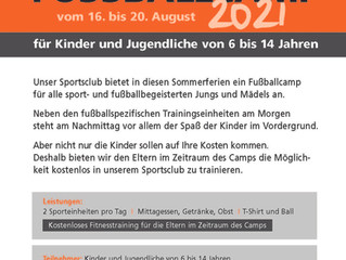 Unser Fussball Camp vom 16. bis 20. August 2021