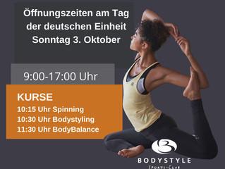 Unsere Öffnungszeiten und Kurse am Tag der deutschen Einheit Sonntag 03.10.2021