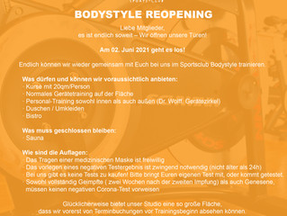 Bodystyle Reopening