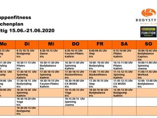 Der Kursplan für die Woche vom 15.06.20 - 21.06.20