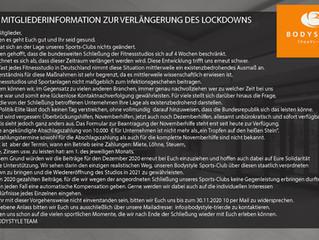 Mitgliederinformation zur Verlängerung des Lockdowns