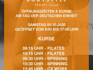Unsere Öffnungszeiten & Kurse am Tag der deutschen Einheit Samstag 03.11.2020