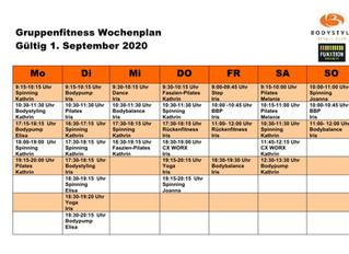 Liebe Mitglieder, der neue Kursplan ist da! Gültig ab dem 1.9.2020! Aufgrund der großen Nachfrage ha