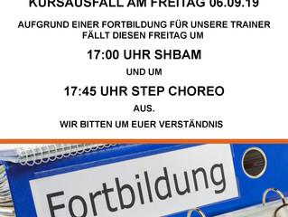 Achtung! Kursausfall wegen Trainer-Fortbildung am Freitag den 06.09.19