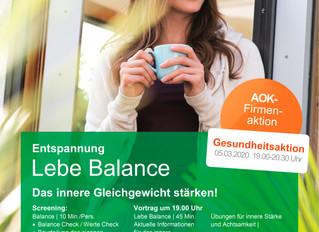 Mit der AOK das innere Gleichgewicht stärken! Informationen und Anmeldeformulare erhalten Sie an der