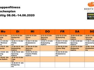 Der Kursplan für die Woche vom 08.06. - 14.06.20