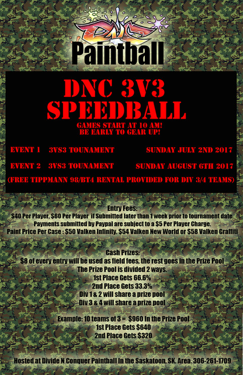 3v3 Speedball Tournaments! Newbie Friendly!