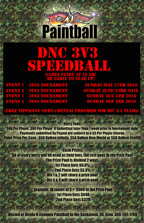 3v3 Speedball Tournament Dates for 2018