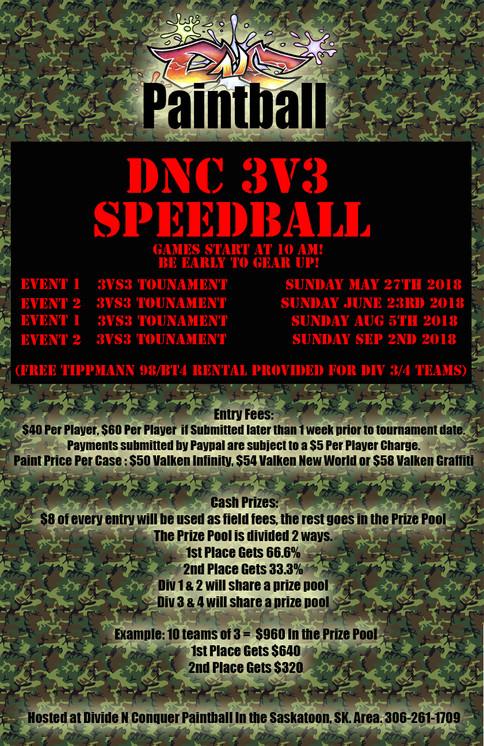3v3 Speedball Tournament Dates for 2018