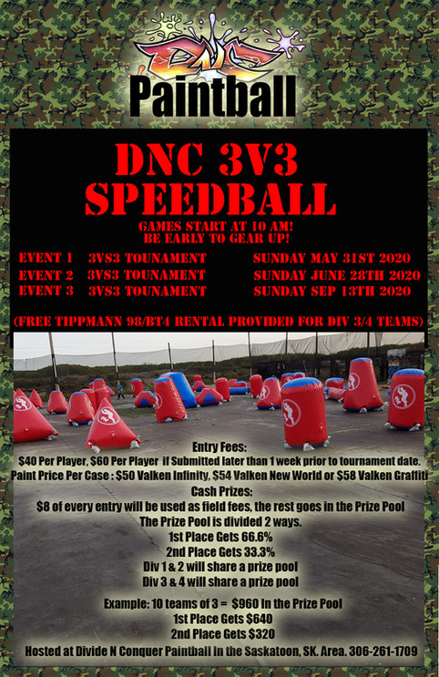2020 3v3  Speedball Tournaments!
