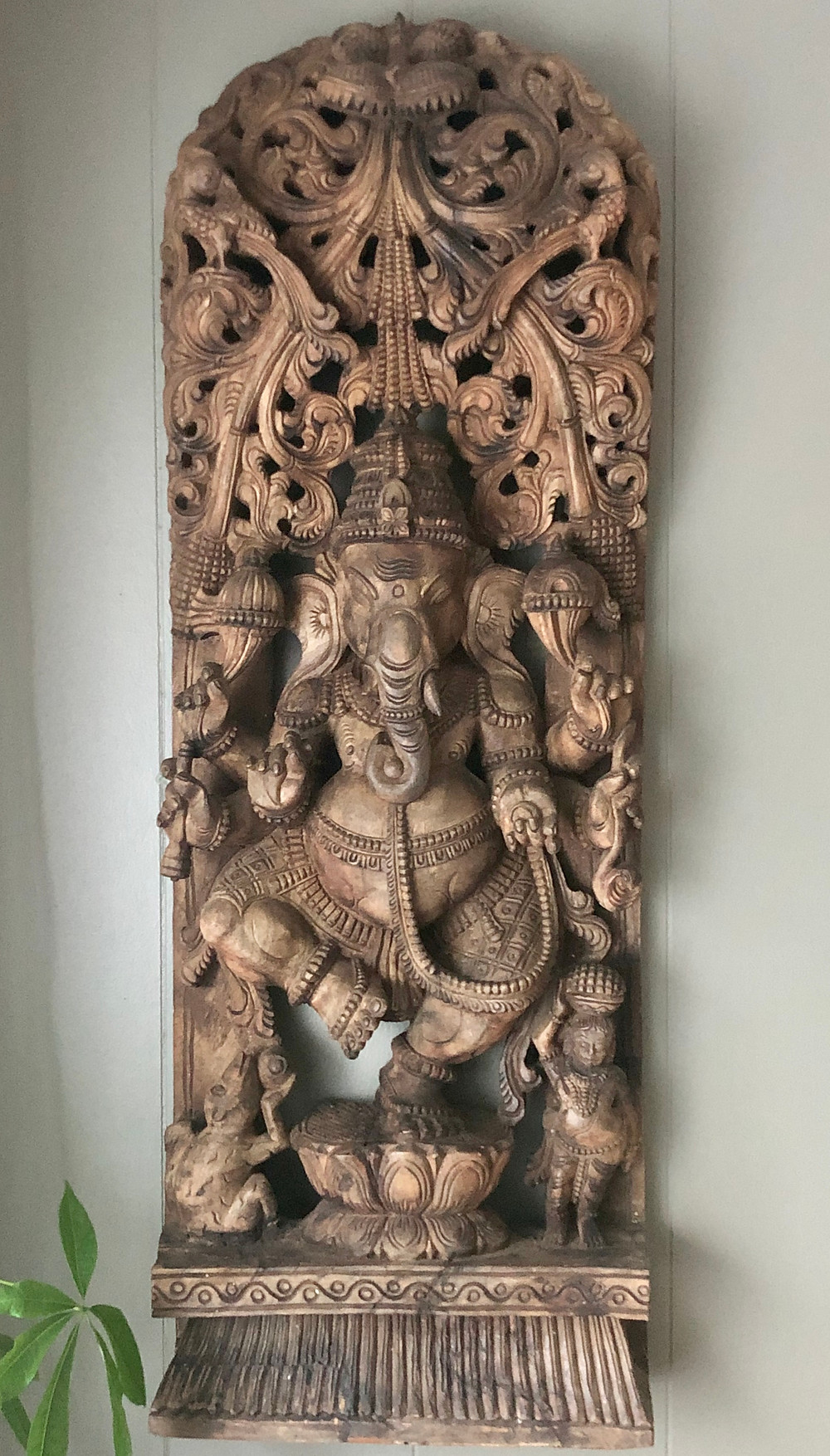 Antique carving depicting the stories about ganesha