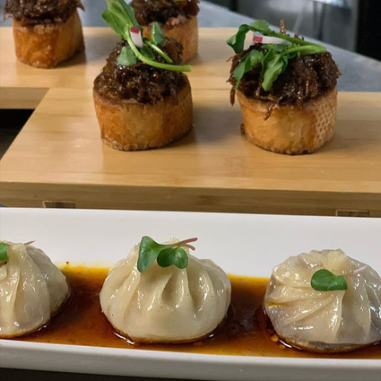 Shrimp and Pork Dumplings and Beef Crostini
