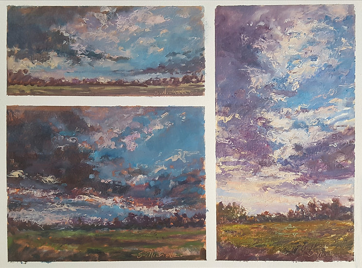 Multiple Image Sky Studies in Oil