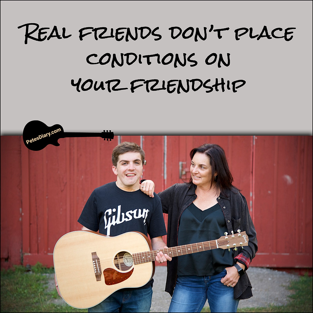 Mom & Son with Acoustic Guitar Friendship Quote