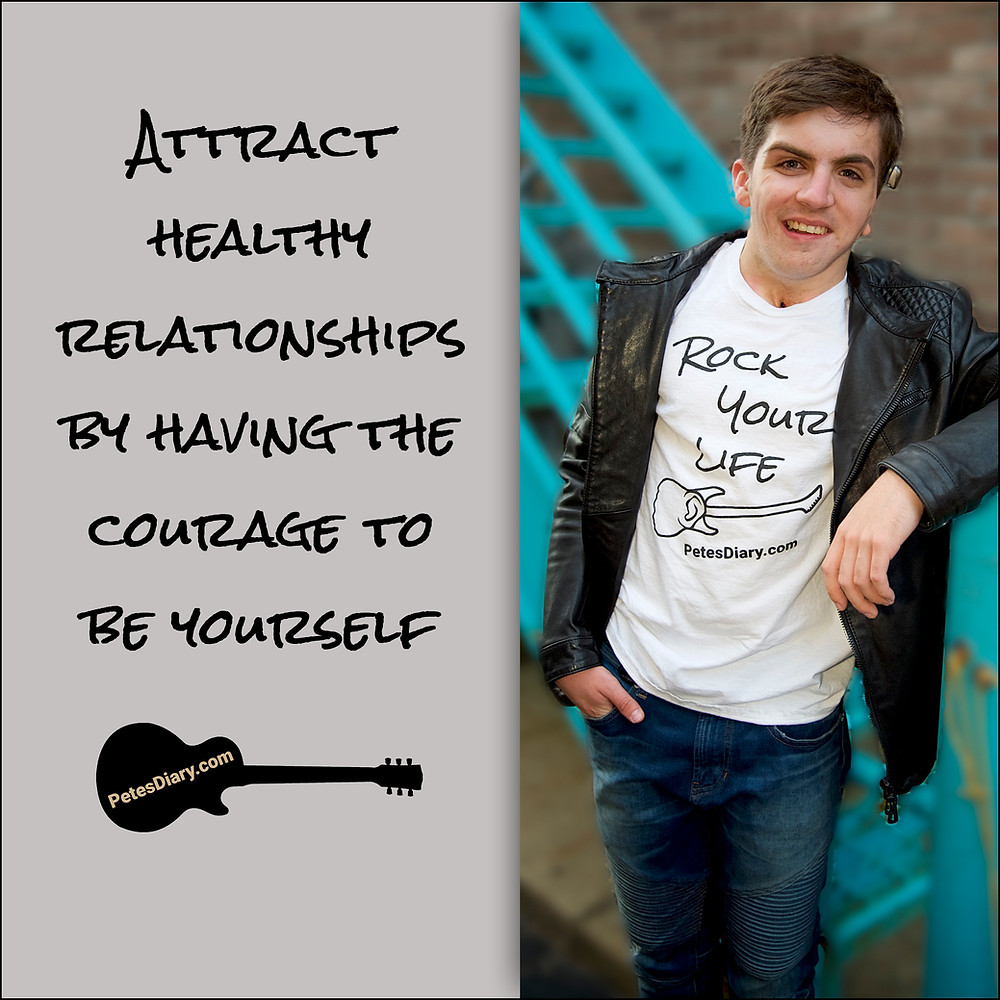 Teenage boy in leather jacket with relationship quote