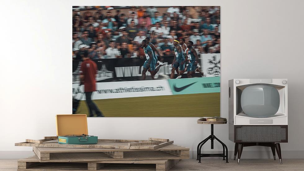 Fotoleinwand 120cm*80cm - 100m men- Athletissima 2019