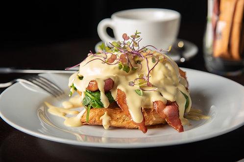 Eggs Benny, (DF) Bacon | Salmon | Mushroom