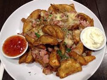 Potato Wedges bacon cheese sour cream