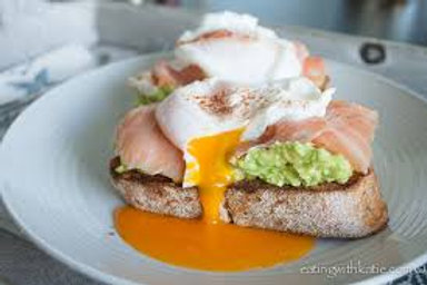 Avo Smash on toast | poached eggs | bacon (GF)