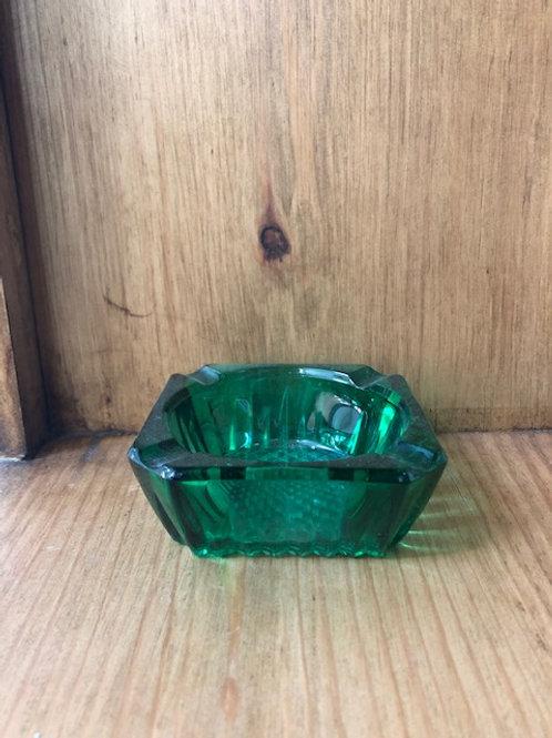 Cendrier en verre vintage couleur vert émeraude