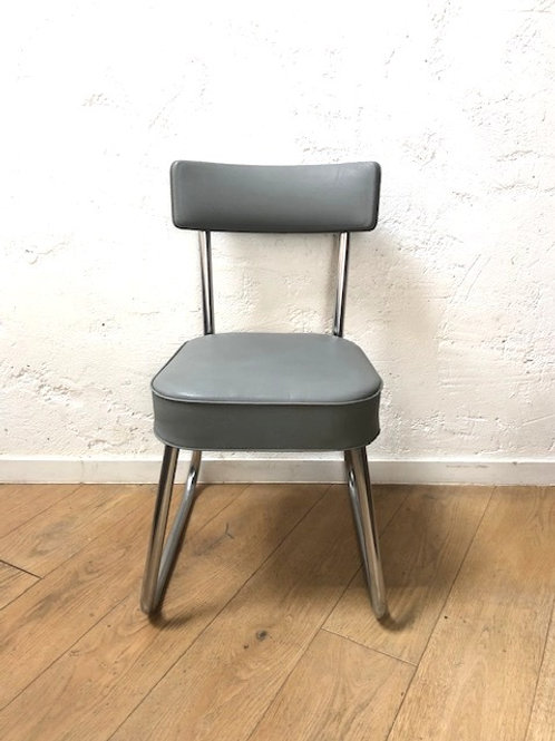 Chaise Chaise en skaï gris vintage