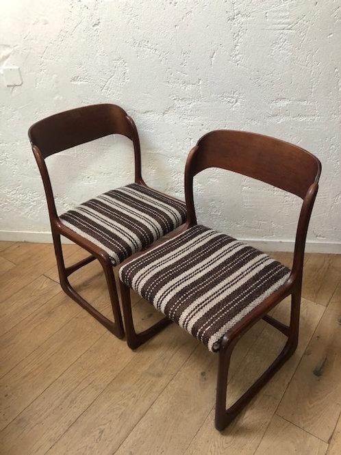 Paire de chaises vintage traineau Baumann