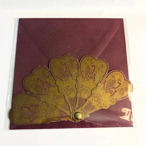 Purple Fan Handmade Card #173