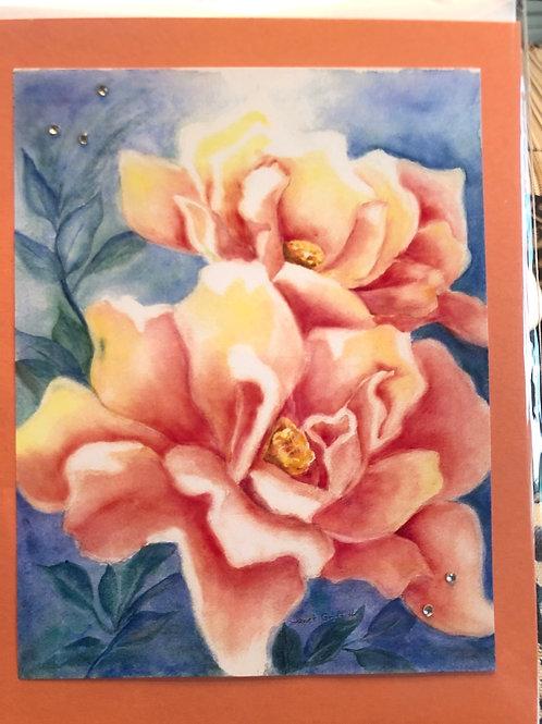Red Orange Roses Watercolor Print Card #7