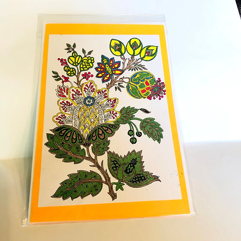 Yellow/Orange Floral #180 Hand-colored Card