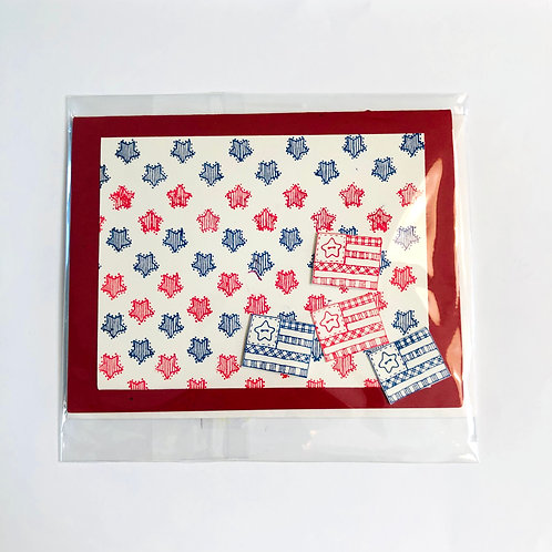 Red and Blue Handmade Card