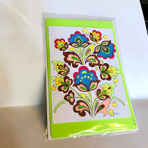 Light Green Floral #175 Hand-colored Card