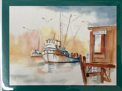 Fishing Boat Watercolor Print Card #11