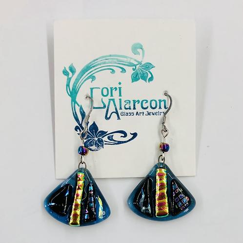 Fused Dichroic Glass Earrings #9