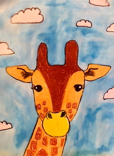 """Will You Laugh At My Giraffe?"", Oil Pastels and Water Colors"