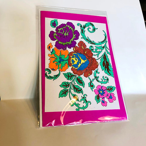 Dark Pink Floral #201 Hand-colored Card