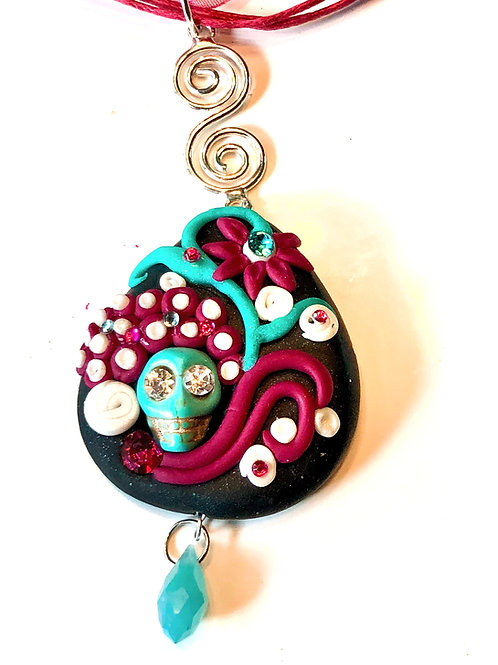 Magenta/Teal Memento Mori Mini Sculpture Pendant