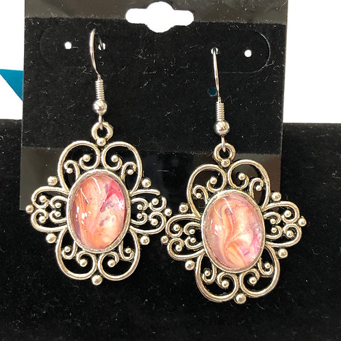 Acrylic Pour Earrings (round/oval)