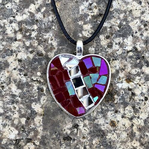 Stained Glass Heart Mini Mosaic Pendantt