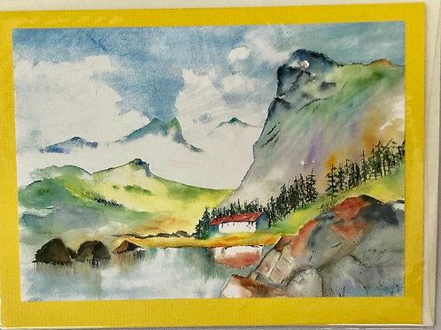 Mountain Lake Watercolor Print Card