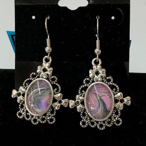 Acrylic Pour Earrings Silvertone Filagree #57