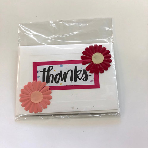 Thanks and Tri-Flower Handmade Cards 2 pack