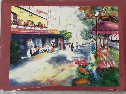 Market Street Watercolor Print Card