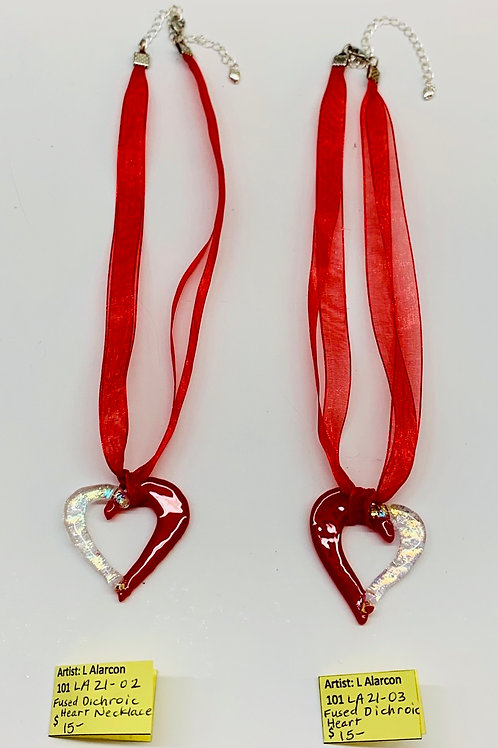 Fused Glass Heart Necklaces