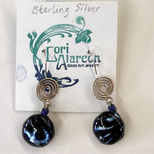 Fused Dichroic Glass and Sterling Silver Earrings