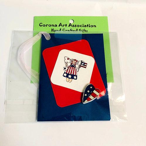 American Flag Handmade Gift Tag #184